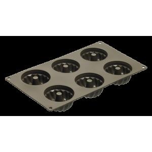 Moule pour 6 Mini Kouglofs en Silicone Platinium - Lurch 85029