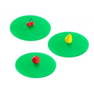 My Lid, lot de 3 couvercles protège verre en silicone décor fruits - Lurch 210188